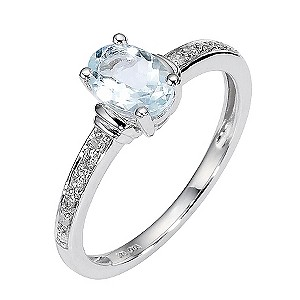 9ct White Gold Aquamarine and Pave Set Diamond Ring