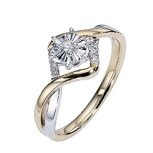 9ct Gold Two Colour Illusion Diamond Solitaire Ring
