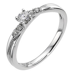 9ct White Gold 1/5 Carat Diamond Solitaire Ring