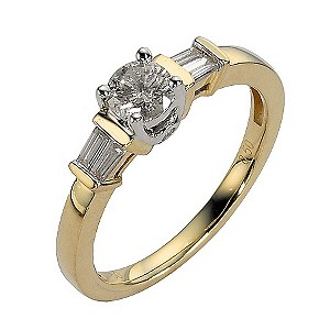 18ct Gold Two Colour Half Carat Diamond Solitaire Ring