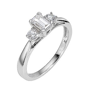 18ct White Gold Two Third Carat Emerald Cut Diamond Ring