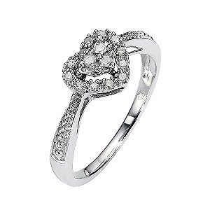 9ct White Gold Diamond Heart Cluster Ring
