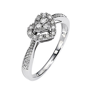 9ct White Gold Diamond Heart Cluster Ring - Product number 8449724