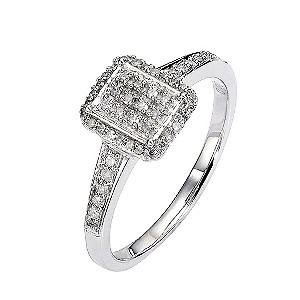 9ct White Gold Fifth Carat Diamond Emerald Pave Cluster Ring - Product number 8449988