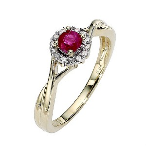 9ct Gold Ruby and Diamond Crossover Shoulders Ring