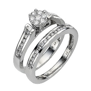Platinum Half Carat Diamond Flower Cluster Bridal Ring Set
