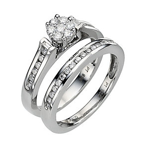 Platinum Half Carat Diamond Flower Cluster Bridal Ring Set - Product number 8453047