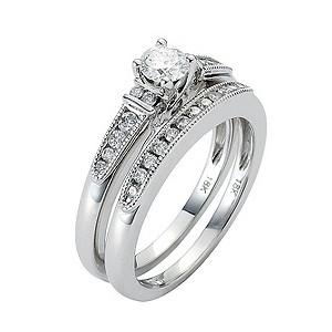 18ct White Gold 0.60 Carat Diamond Milgrain Bridal Ring Set