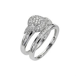 9ct White Gold Third Carat Diamond Cluster Bridal Ring Set