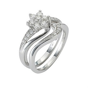 9ct White Gold Half Carat Diamond Daisy Bridal Ring Set