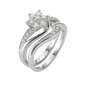 9ct White Gold Half Carat Diamond Daisy Bridal Ring Set - Product number 8455473