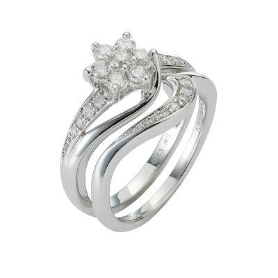 9ct White Gold Half Carat Diamond Daisy Bridal Ring Set HSamuel