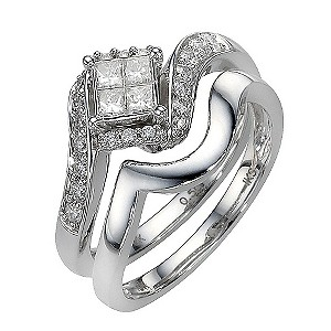 9ct White Gold Half Carat Diamond Princessa Bridal Ring Set