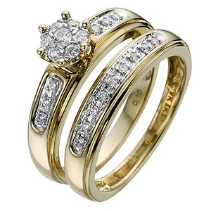 Perfect Fit 9ct Yellow 1/5 Carat Diamond Bridal Set product image
