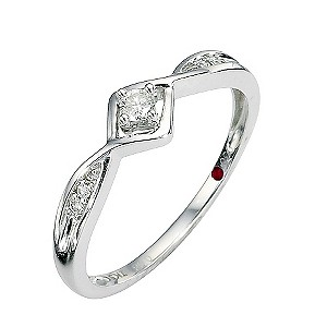 Cherished Silver Diamond Solitaire Ring with Pave Shoulders