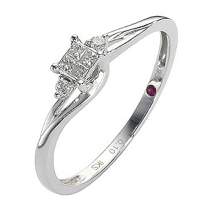Cherished Silver Diamond Princessa Ring with Two Stone Twist