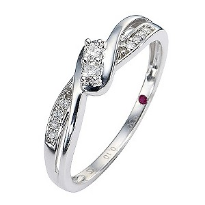 Cherished Silver Diamond Two Stone Ring with Twist Shoulders