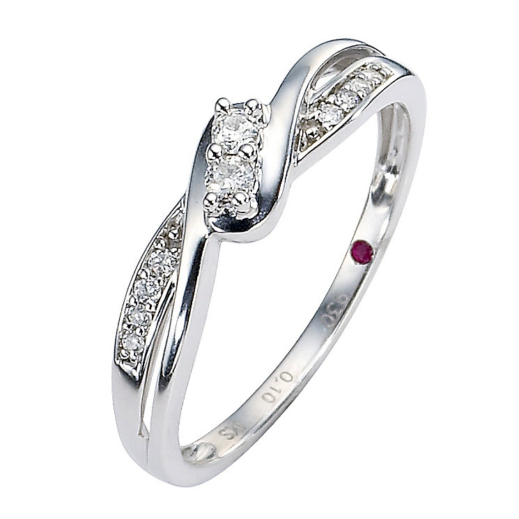 Cherished Silver Diamond Two Stone Ring with Twist Shoulders - Product number 8456402