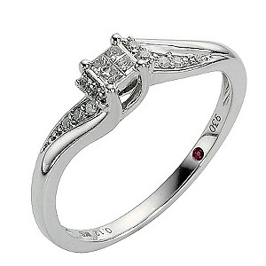 Cherished Silver Diamond Princessa Ring
