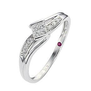 Cherished Argentium Silver Diamond Princess Cut Twist Ring - Product number 8457204