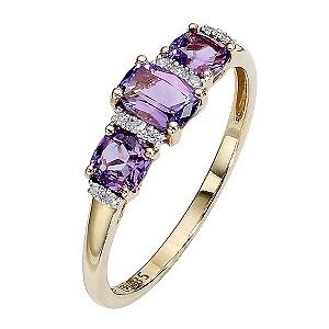 9ct Gold Three Stone Amethyst and Diamond Set Ring