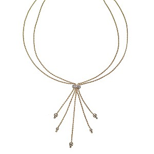 9ct Gold Cubic Zirconia Multi Tassel Mesh Drop Necklace