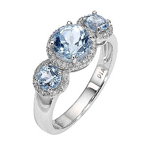 9ct White Gold Three Stone Blue Topaz and Diamond Set Ring