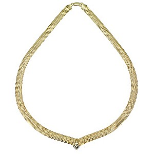 9ct Gold Mesh and Diamond Cut Collar Necklace