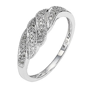 9ct White Gold Diamond Pave Set Double Crossover Ring