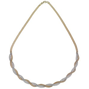 9ct Gold Two Colour Plait Collar Necklace