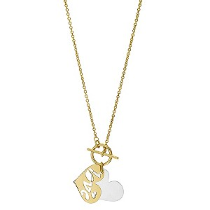 9ct Yellow Gold And Silver Love Heart Necklace