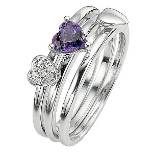 Silver Amethyst and Diamond Three Ring Stacker