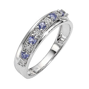 9ct White Gold Tanzanite and Diamond Set Ring