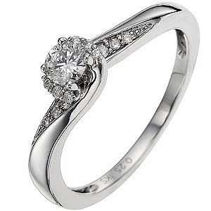 9ct White Gold 1/4 Carat Diamond Solitaire Ring