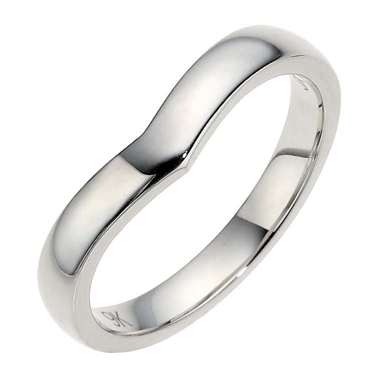 9ct White Gold Plain Shaped Wedding Band 3mm