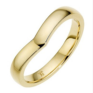 9ct Yellow Gold Plain Shaped Wedding Band. 3mm.