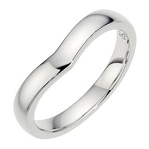 18ct White Gold Plain Shaped Wedding Band