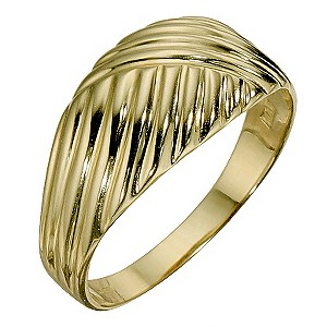 9ct Yellow Gold Cross Over Pattern Ring