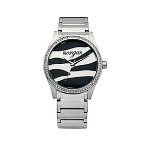 Morgan Ladies' Stone Set Zebra Dial Bracelet Watch - Product number 8463891