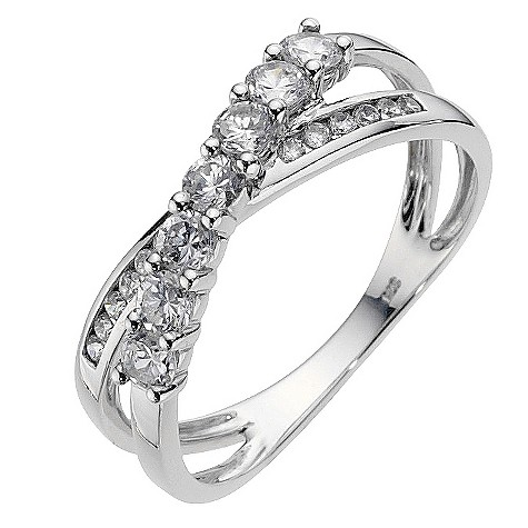 9ct white gold crossover cubic zirconia ring