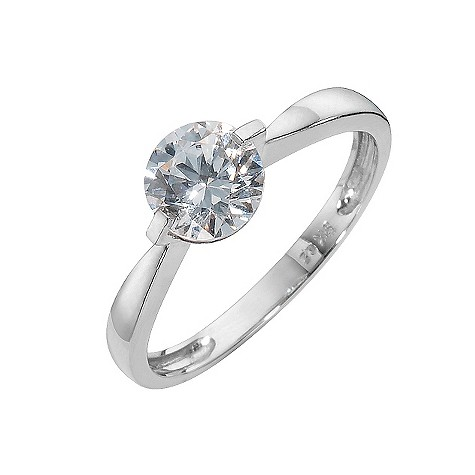 9ct white gold solitaire ring made with Swarovski Zirconia