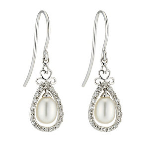 9ct white gold freshwater pearl & diamond vintage earrings - Product number 8467366