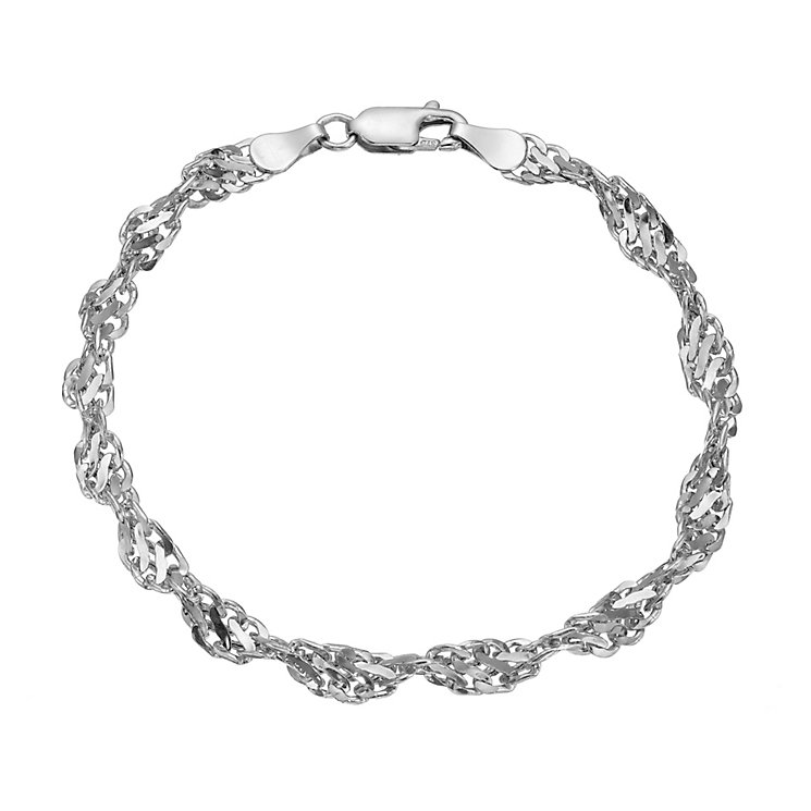 "9ct white gold cut out twist bracelet 7.5"" - Product number 8468516"