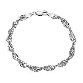 9ct white gold cut out twist bracelet 7.5