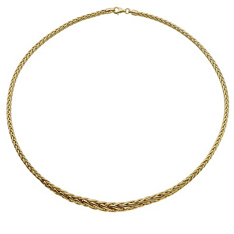 9ct yellow gold graduated spiga necklace