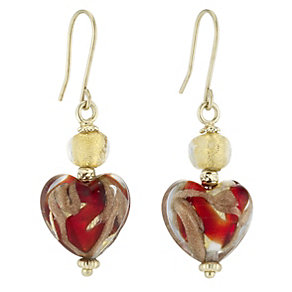 9ct yellow gold red Venetian glass heart drop hook earrings - Product number 8469903