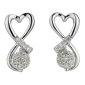 9ct White Gold Diamond Heart Shaped Earrings - Product number 8470138