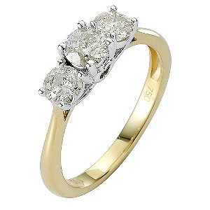 18ct Gold One Carat Three Stone Diamond Ring