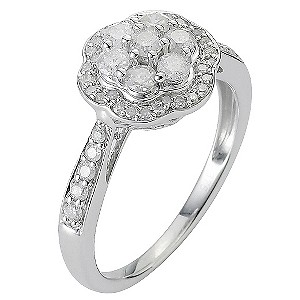 9ct White Gold Two Third Carat Diamond Cluster Ring