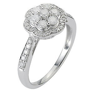 9ct White Gold Two Third Carat Diamond Cluster Ring - Product number 8471282